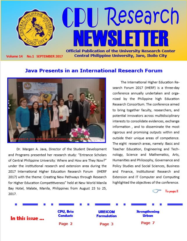 Newsletter Vol. 14 September 2017