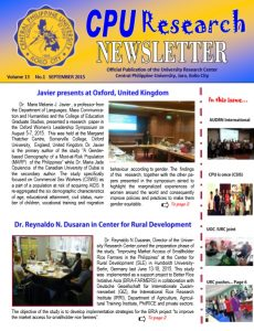 Newsletter Vol. 13 September 2015