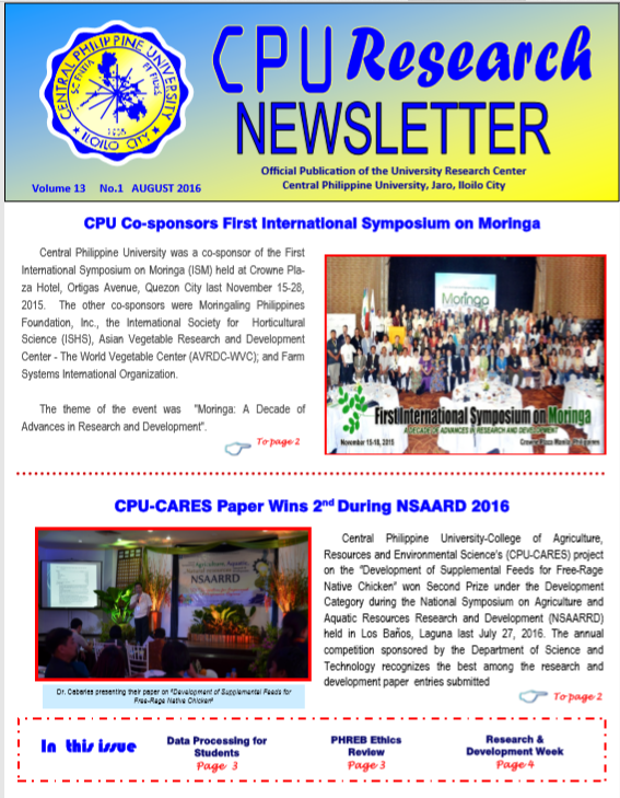 Newsletter Vol. 13 August 2016