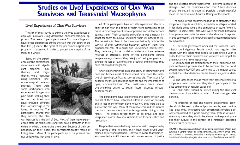 Vol 14.2 Studies on Lived Experiences of Clan War Survivors and Terrestrial Macrophytes