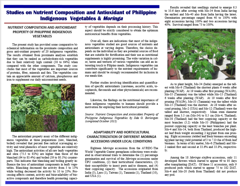 Vol. 11.2 Studies on Nutrient Composition and Antioxidant of Philippine Indigenous Vegetables and Moringa