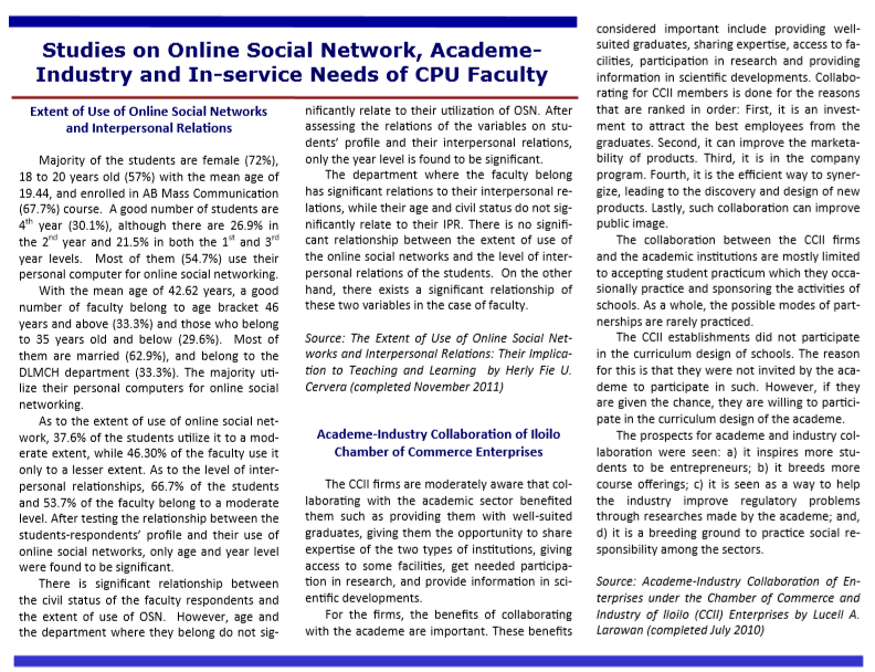 Vol. 11.3 Studies on Online Social Network, Academe-Industry and In-service Needs of CPU Faculty
