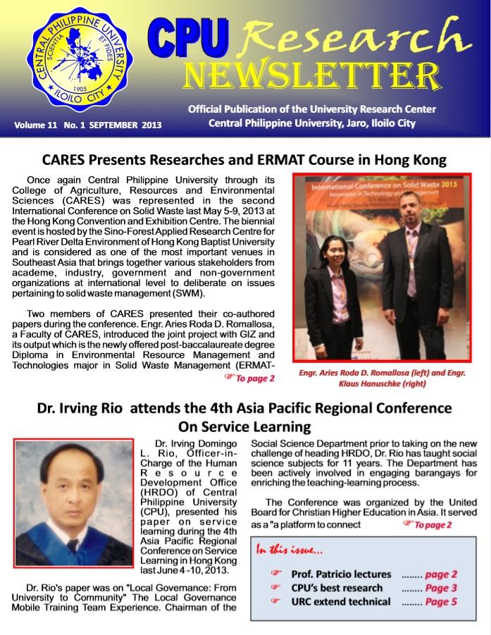 Newsletter Vol. 11 September 2013