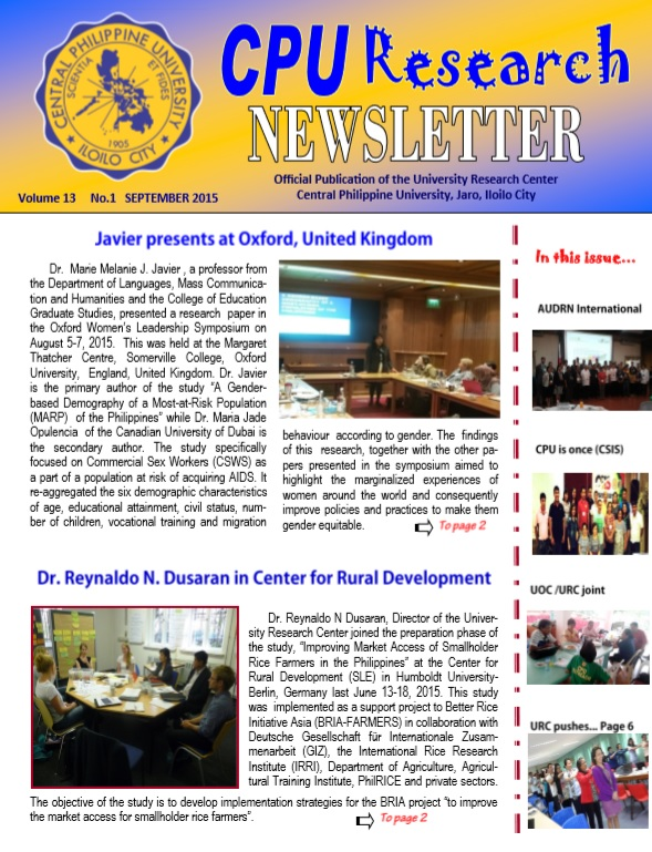 Newsletter Vol. 13 September 2015