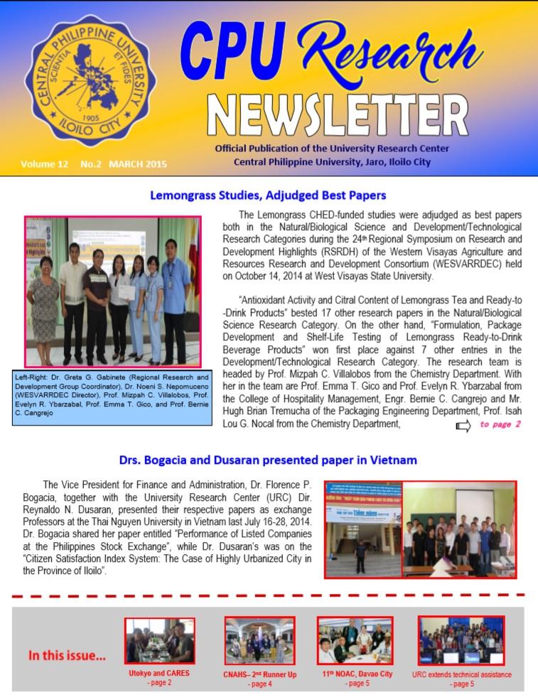 Newsletter Vol. 12 March 2015