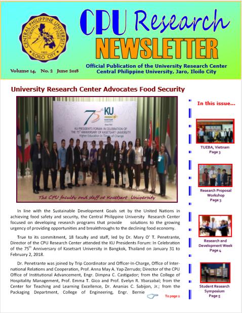 Newsletter Vol. 14 June 2018