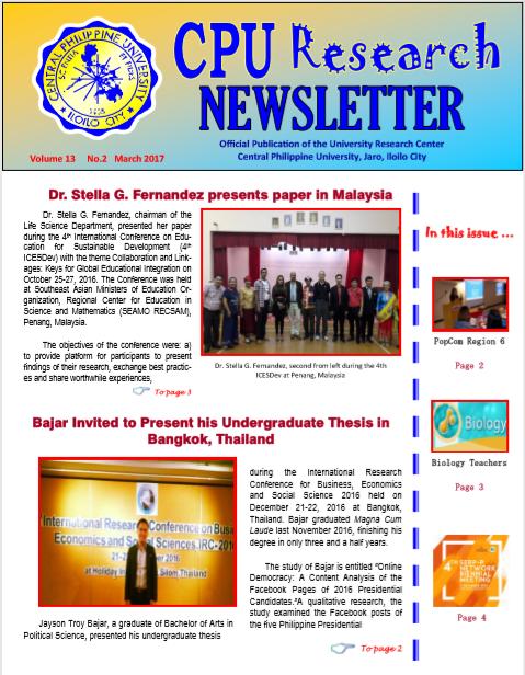 Newsletter Vol. 13 March 2017